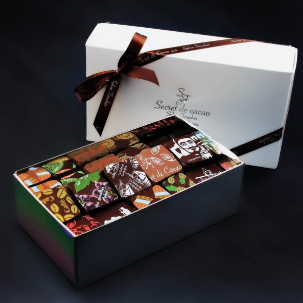 Ballotin de chocolats ouvert, Sylvie Faucher